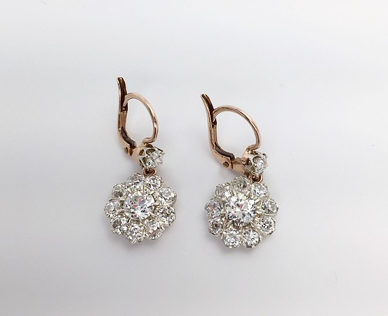 4.5ctw (est.) Old Mine and Old European Cut Diamond Cluster Earrings