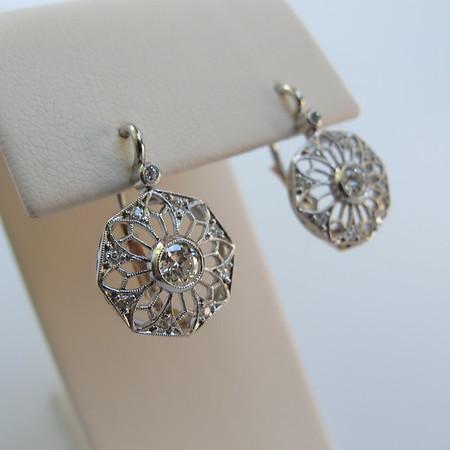 .50ctw Vintage Filigree Diamond Drop Earrings