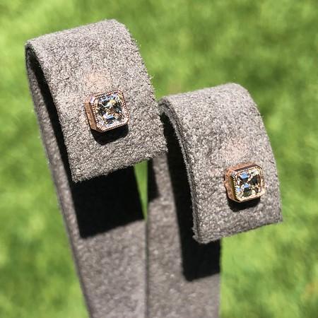 .52ctw Asscher Cut Diamond Bezel Stud Earrings, 18kt Rose Gold