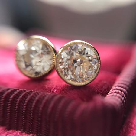 .54ctw Old European Cut Diamond Bezel Earings