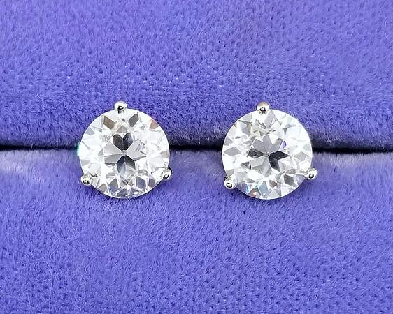 6.5mm OEC Moissanite Earrings in Stuller Martini Settings