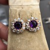 7.30ctw Victorian Amethyst and Old Mine Cut Diamond Cluster Earrings 9