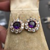 7.30ctw Victorian Amethyst and Old Mine Cut Diamond Cluster Earrings 8