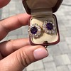 7.30ctw Victorian Amethyst and Old Mine Cut Diamond Cluster Earrings 15
