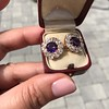 7.30ctw Victorian Amethyst and Old Mine Cut Diamond Cluster Earrings 14