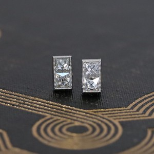 .74ctw French Cut Baby Bar Stud Earrings