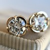 .74ctw Transitional Cut Diamond Earrings, Yellow Gold 0
