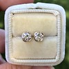 .74ctw Transitional Cut Diamond Earrings, Yellow Gold 3