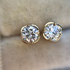 .74ctw Transitional Cut Diamond Earrings, Yellow Gold 14