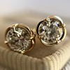 .74ctw Transitional Cut Diamond Earrings, Yellow Gold 11