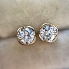 .74ctw Transitional Cut Diamond Earrings, Yellow Gold 4