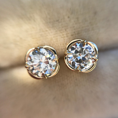 .74ctw Transitional Cut Diamond Earrings, Yellow Gold