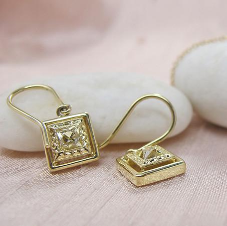 .74tcw Fancy Yellow French Cut Diamond Dangle Earrings