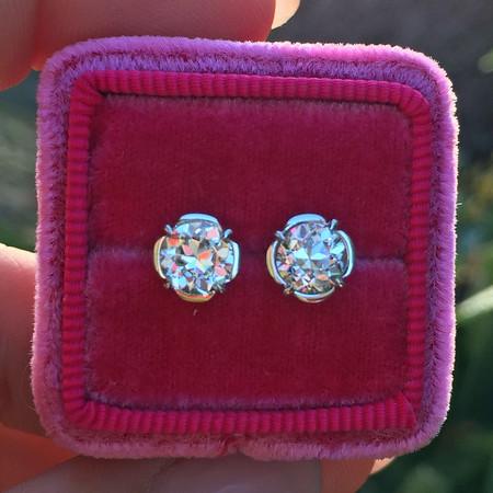 .77tcw Transitional Cut Diamond Diamond Earrings, Clover Setting