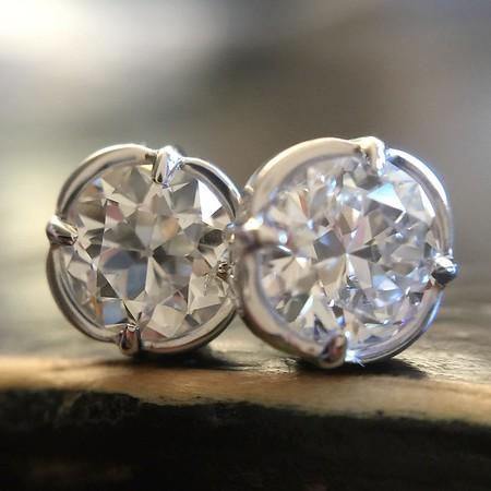 ".79ctw Old European Cut Diamond ""Clover"" Stud Earrings"