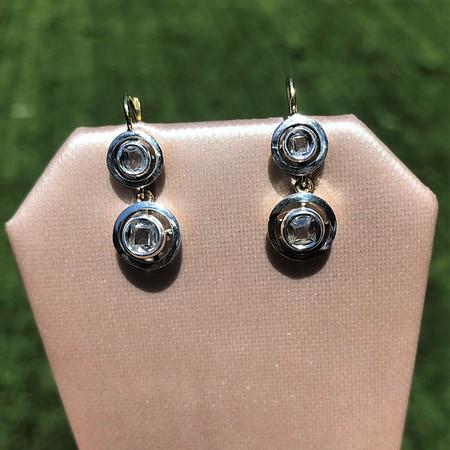 .85ctw Antique Table Cut Diamond Double Drop Earrings