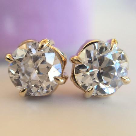 ".86ctw Old European Cut Diamond ""Clover"" Stud Earrings"