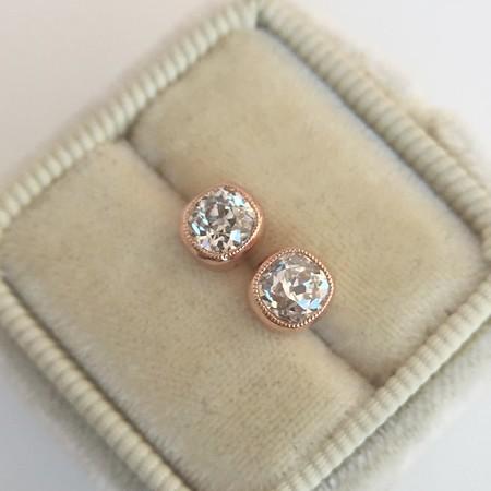 .91ctw Antique Cushion Cut Diamond Bezel Stud Earrings