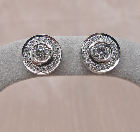 .99tcw Diamond Pave Button Earrings