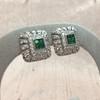 Art-Deco Inspired Tsavorite and Diamond Earrings 2