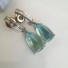 Diamond and Aquamarine Dangle Earrings 11