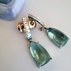 Diamond and Aquamarine Dangle Earrings 16