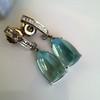 Diamond and Aquamarine Dangle Earrings 19