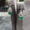 2.00ctw+ Emerald and Diamond Art Deco Conversion Earrings 4