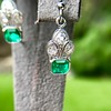 2.00ctw+ Emerald and Diamond Art Deco Conversion Earrings 9