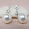 Diamond and Pearl Dangle Earrings 3