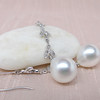 Diamond and Pearl Dangle Earrings 7