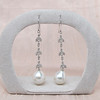 Diamond and Pearl Dangle Earrings 0