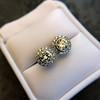 4.05ctw Round Brilliant Cluster Earrings 36