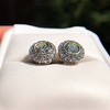 4.05ctw Round Brilliant Cluster Earrings 30