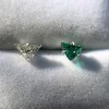 .85ctw Vintage Mismatched Emerald and Diamond Stud Earrings 23
