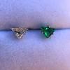.85ctw Vintage Mismatched Emerald and Diamond Stud Earrings 21