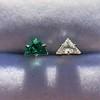 .85ctw Vintage Mismatched Emerald and Diamond Stud Earrings 8