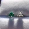 .85ctw Vintage Mismatched Emerald and Diamond Stud Earrings 11