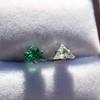.85ctw Vintage Mismatched Emerald and Diamond Stud Earrings 10