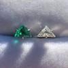 .85ctw Vintage Mismatched Emerald and Diamond Stud Earrings 14
