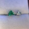 .85ctw Vintage Mismatched Emerald and Diamond Stud Earrings 18