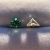 .85ctw Vintage Mismatched Emerald and Diamond Stud Earrings 9