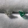 .85ctw Vintage Mismatched Emerald and Diamond Stud Earrings 24