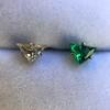 .85ctw Vintage Mismatched Emerald and Diamond Stud Earrings 20