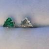 .85ctw Vintage Mismatched Emerald and Diamond Stud Earrings 19