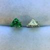 .85ctw Vintage Mismatched Emerald and Diamond Stud Earrings 2