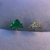 .85ctw Vintage Mismatched Emerald and Diamond Stud Earrings 16