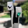 .85ctw Vintage Mismatched Emerald and Diamond Stud Earrings 0