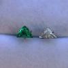 .85ctw Vintage Mismatched Emerald and Diamond Stud Earrings 17