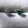 .85ctw Vintage Mismatched Emerald and Diamond Stud Earrings 22